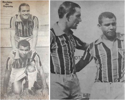 Gino Orlando e Canhoteiro aparecem juntos em várias edições da revista do Esporte. Créditos: (Imagem da esquerda) revista do Esporte número 188 - 13 de outubro de 1962. (Imagem da direita) revista do Esporte número 214 – Abril de 1963.