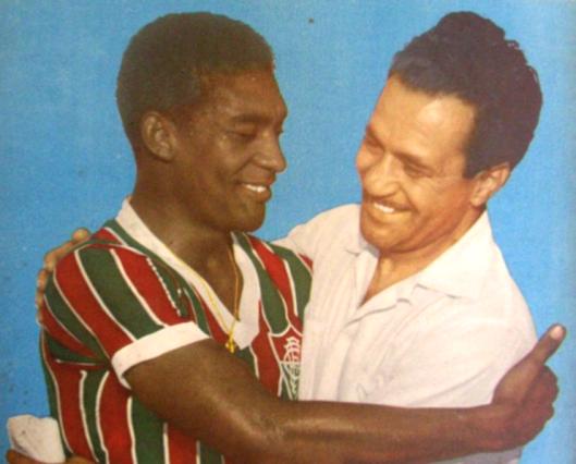 Waldo e o técnico Pirillo. Crédito: revista Manchete Esportiva número 81 - 8 de junho de 1957.