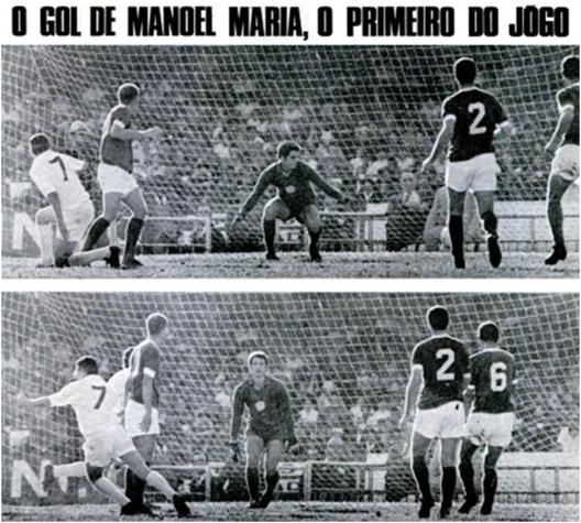 O chute de Manuel Maria desvia em Ademir da Guia e engana Leão.O Santos venceu o Palmeiras por 2x0 no Morumbi. Crédito: revista Placar -10 de julho de 1970.