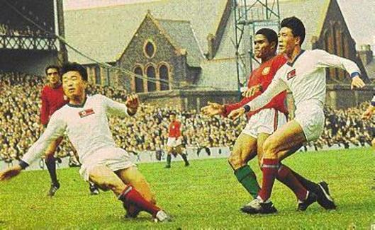 Eusébio na incrível partida contra os coreanos em 1966.