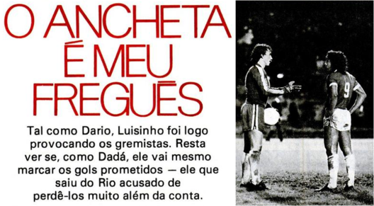 Luisinho no Internacional. Crédito: revista Placar - 12 de agosto de 1977.