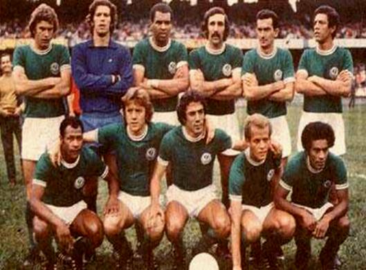 O time do Palmeiras que levantou o caneco em 1974. Em pé : Jair Gonçalves. Leão. Luis Pereira. Alfredo. Dudu e Zeca. Agachados: Edu. Leivinha. Ronaldo. Ademir da Guia e Nei.
