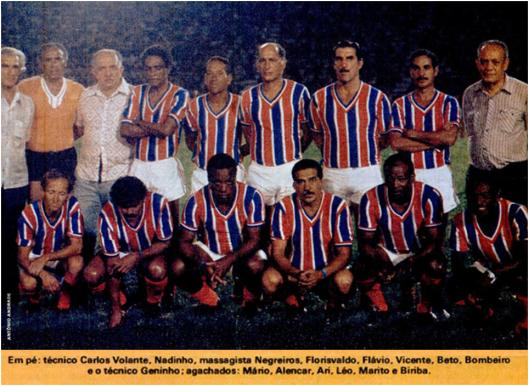 Matéria especial com os campeões de 1959. O então cabeludo Alencar é o segundo agachado partindo da esquerda. Crédito: revista Placar – 16 de fevereiro de 1979.