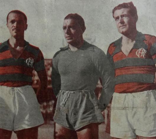 Newton, Jurandir e Quirino. Crédito: revista Esporte Ilustrado número 342 - 26 de outubro de 1944.