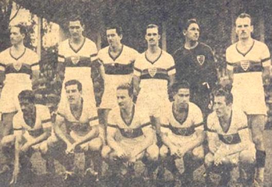 Formação do Atlético Paranaense em 1948. Em pé: Joaquim, Waldomiro, Joãozito, Coquemala, Laio e Nilo. Agachados: Batista, Jackson, Guará, Vilanueva e Cireno.