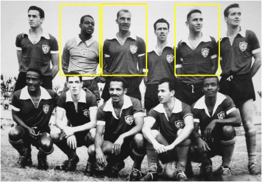 Em destaque vemos o goleiro Veludo, Eli e o zagueiro Duque nesta formação do Canto do Rio Foot-Ball Club em 1956. Crédito: cantodoriofc.com.br.
