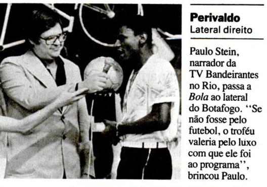 Perivaldo ganhou o prêmio da Bola de Prata em 1976 e repetiu o feito em 1981. Crédito: revista Placar- 15 de maio de 1981.