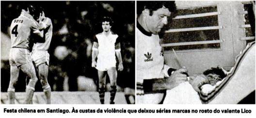 Mário Soto, camisa 4, comemora o gol da vitória do Cobreloa em Santiago. Crédito: revista Placar - 27 de novembro de 1981.