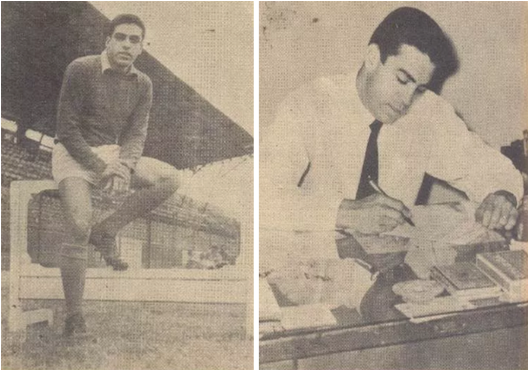 Carlos Alberto em suas duas atividades como goleiro e como militar. Crédito: revista do Esporte número 65 – 4 de junho de 1960.