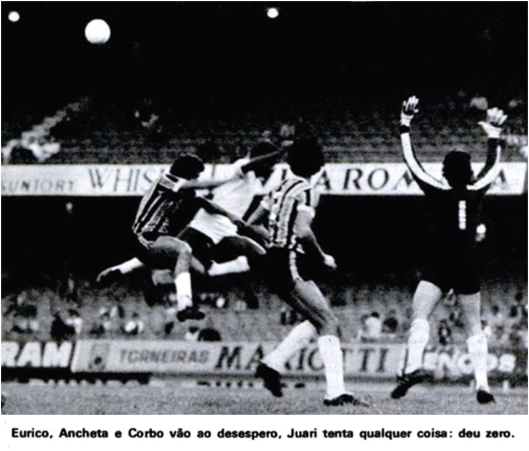 Santos e Grêmio ficaram no 0x0 pelo campeonato brasileiro de 1978 no Morumbi. Crédito: revista Placar – 23 de junho de 1978.