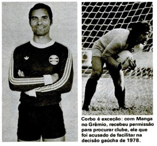 Com Manga no Grêmio, Corbo teve o caminho livre para sair. Crédito: revista Placar.