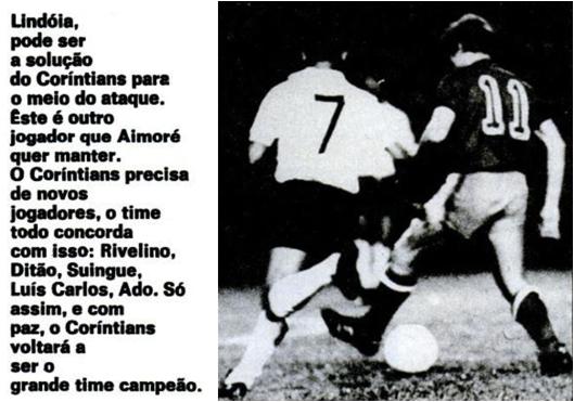 Na reabertura do estádio do Pacaembu, o Corinthians do ponta direita Lindóia saiu vaiado de campo, após empate sem gols no amistoso contra o Nacional do Uruguai. Crédito: revista Placar – 6 de novembro de 1970.